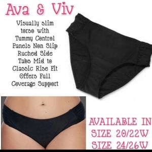 Ava & Viv Swim Bottoms Size 24W/26W Ruched NWT